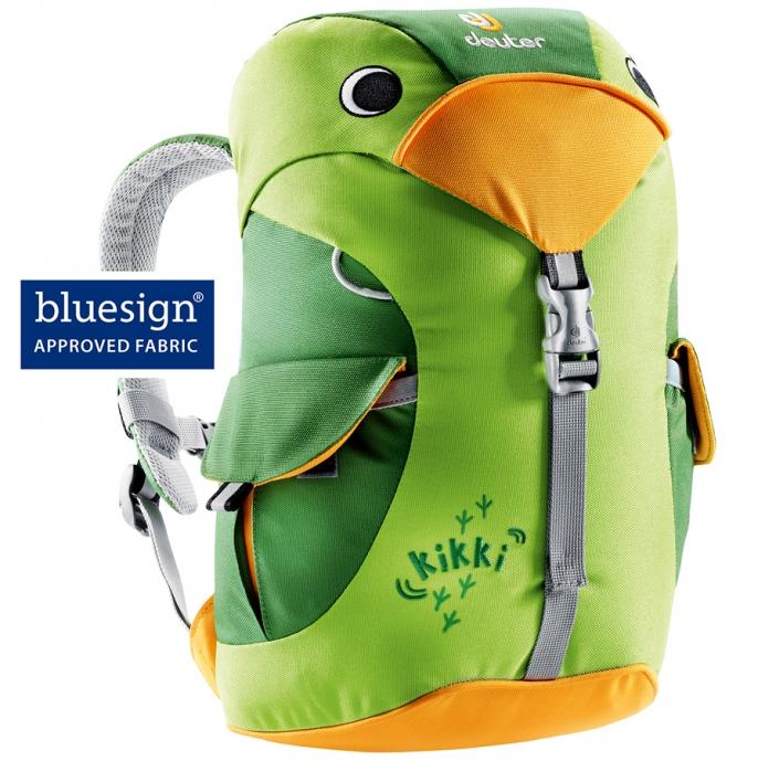 A green children's backpack shaped like a bird