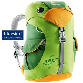 A green children's backpack shaped like a bird