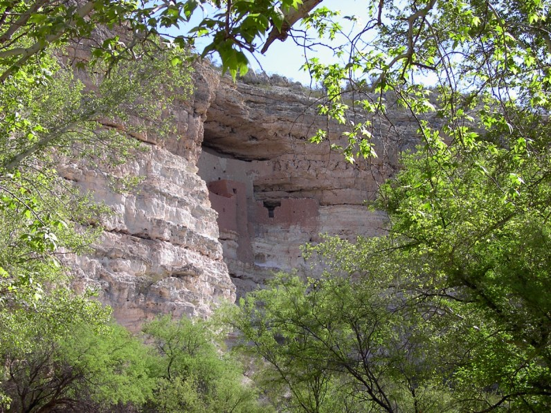 Native dwellings are carved into the cliff face at Montezuma's Castle in Arizona