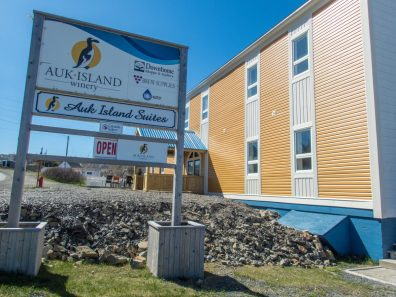 a sign for a winery sits in front of a yellow and white building - Icebergs in Twillingate