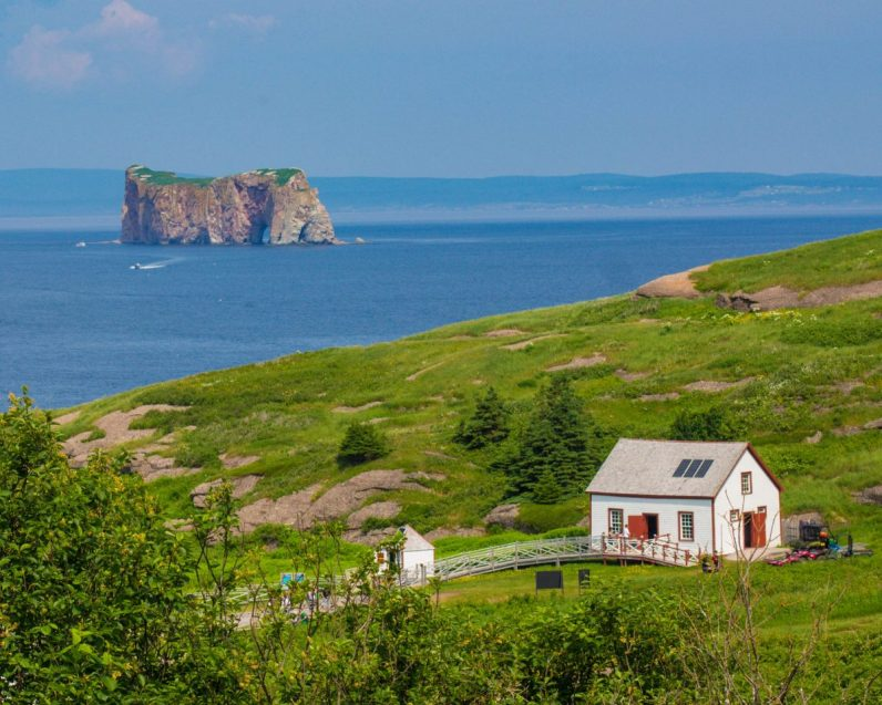 Perce Rock as view from Bonaventure Island on of our bucket list destinations in Canada.