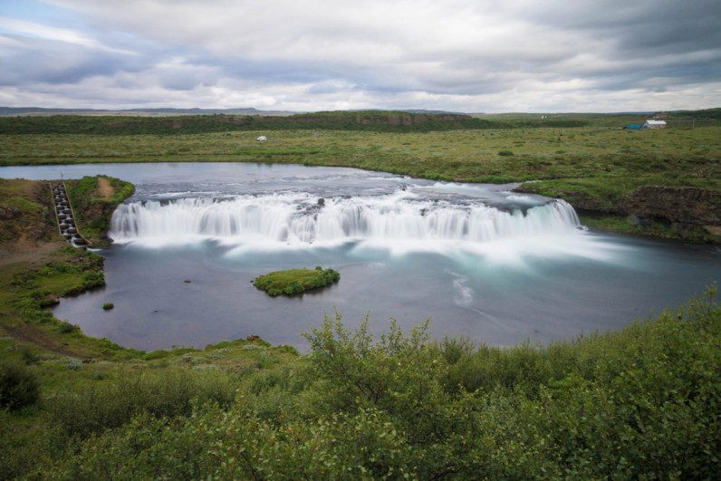 A small, wide waterfall in Iceland - An Epic 14 Day Iceland Itinerary