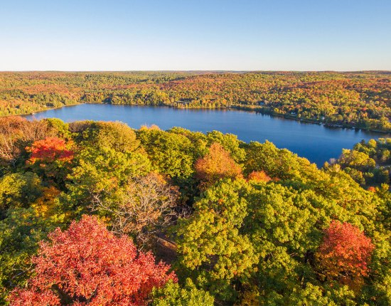 Fall colours over Muskoka viewed from the Dorsett Lookout Tower - 5 kid friendly activities in Ontario