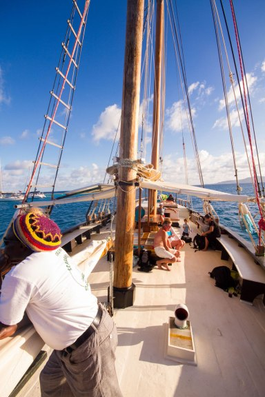 Looking out over the deck of a tall sailing ship in the Caribbean - Swimming with turtles in the Tobago Cays