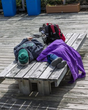 A grandmother and grandson take a nap on a bench at Western Brook Pond in Gros Morne National Park