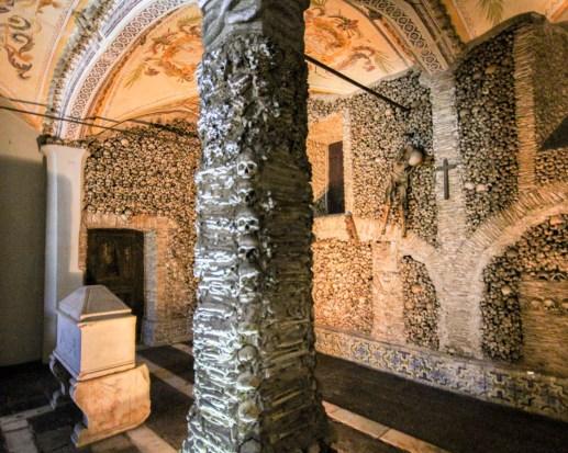 Inside the Bone Chapel in Evora, Portugal.