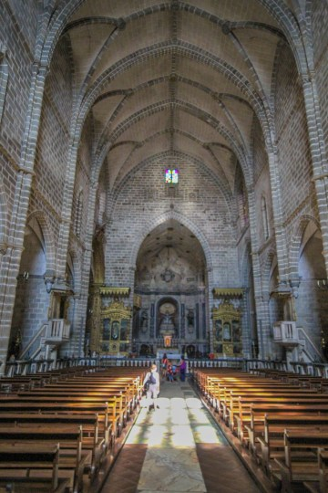 Front altar of the Church of St. Francis in Evora, Portugal.