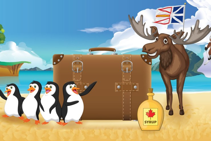 An illustration of a luggage on a beach with a bottle of maple syrup, penguins and moose smiling with a cliff in the background with a monkey skiing down a mountain