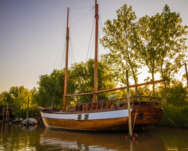 A pirate ship sits in the narrows of the delta Parana in Tigre.