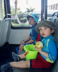 boys-taking-shuttle-bus-to-horseshoe-bay-beach-in-bermuda