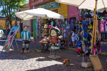 Store selling football merchandise in La Boca.