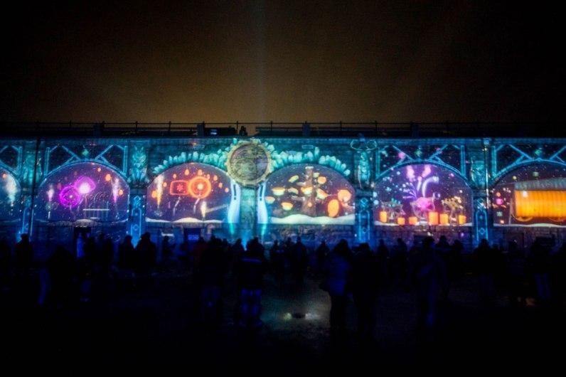 Games projected onto a wall at Lumina Borealis.