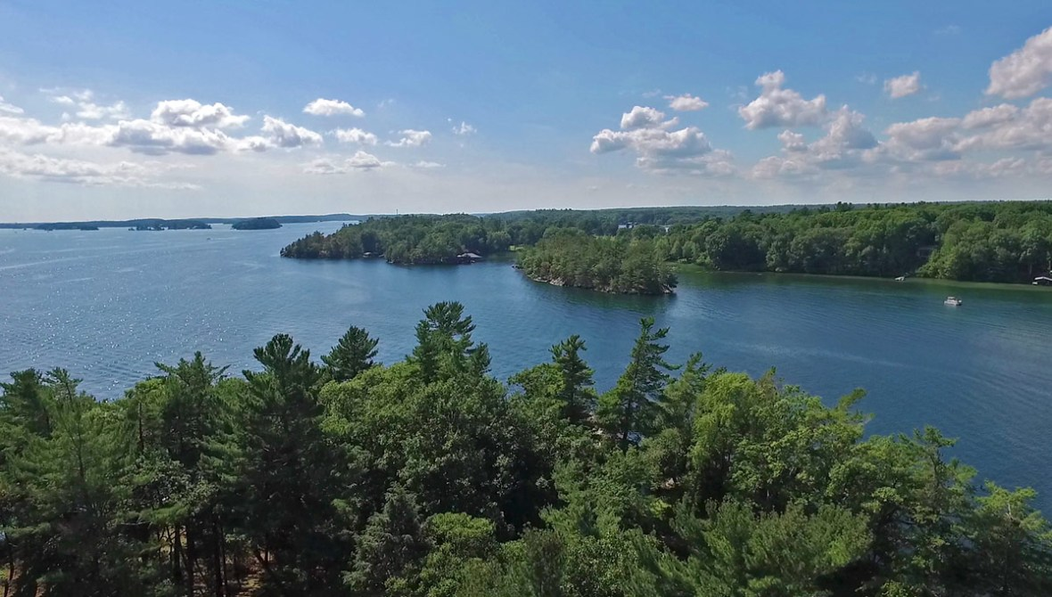 Islands in Thousand Islands National Park during the summer.