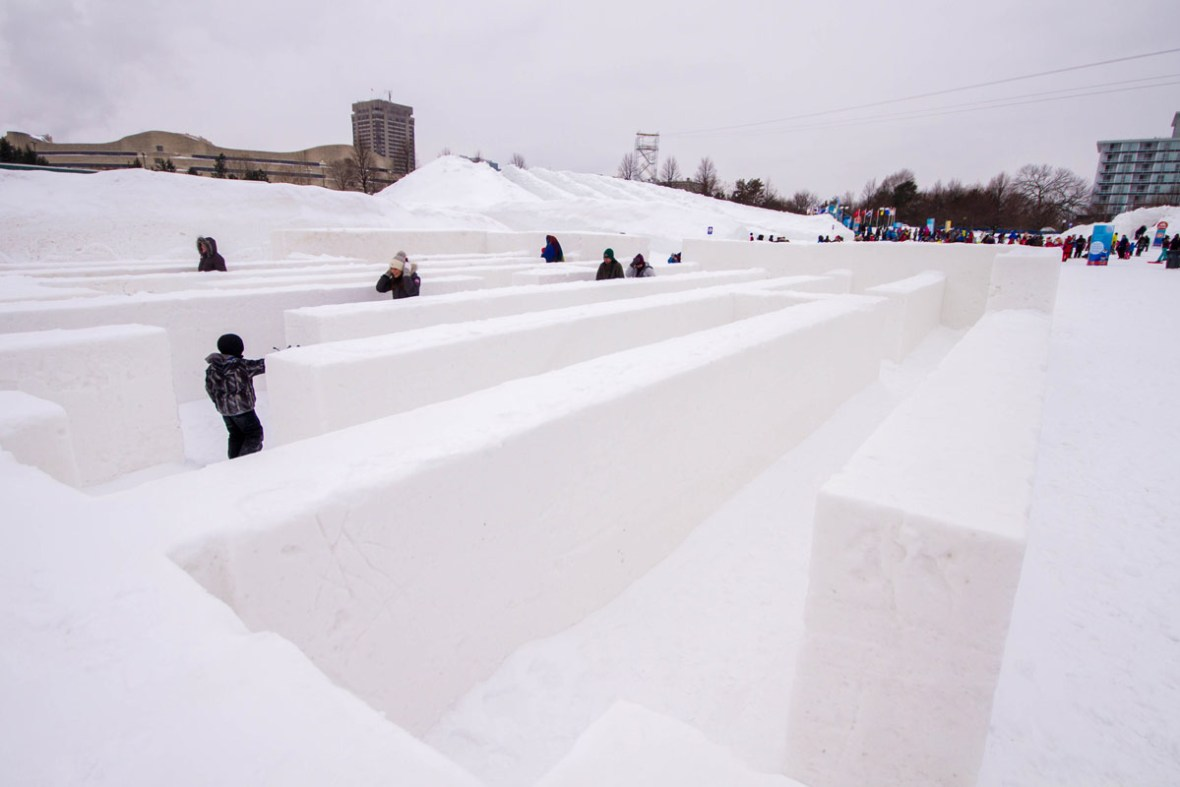 Giant maze made of snow