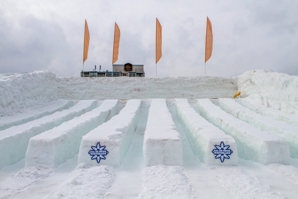 Slides made from snow is a great way to experience Winterlude with kids.