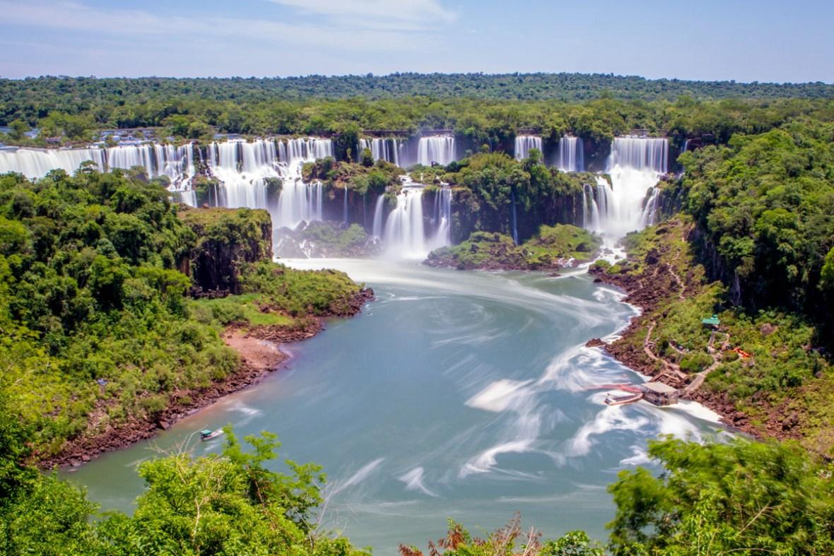 Panaroma of Iguazu Falls Brazil taken from the beginning of the Cataratas Trail.