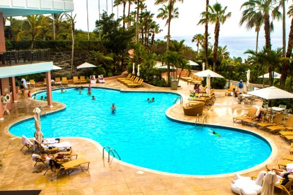 One of the two outdoor pools at the Fairmont Southampton Hotel.