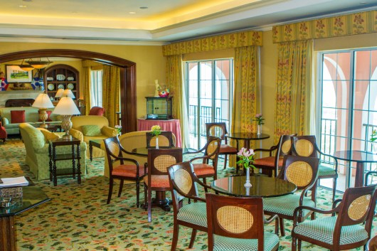 Dining lounge on the Gold Floor of the Fairmont Southampton Hotel Bermuda.