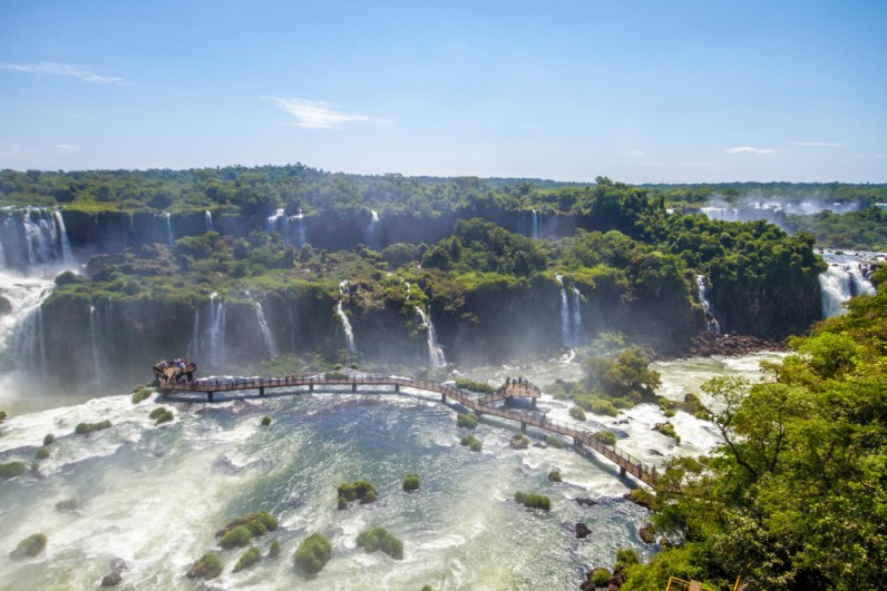 Overhead angle of the many viewpoints along the Cataratas Trail in Iguazu Falls.
