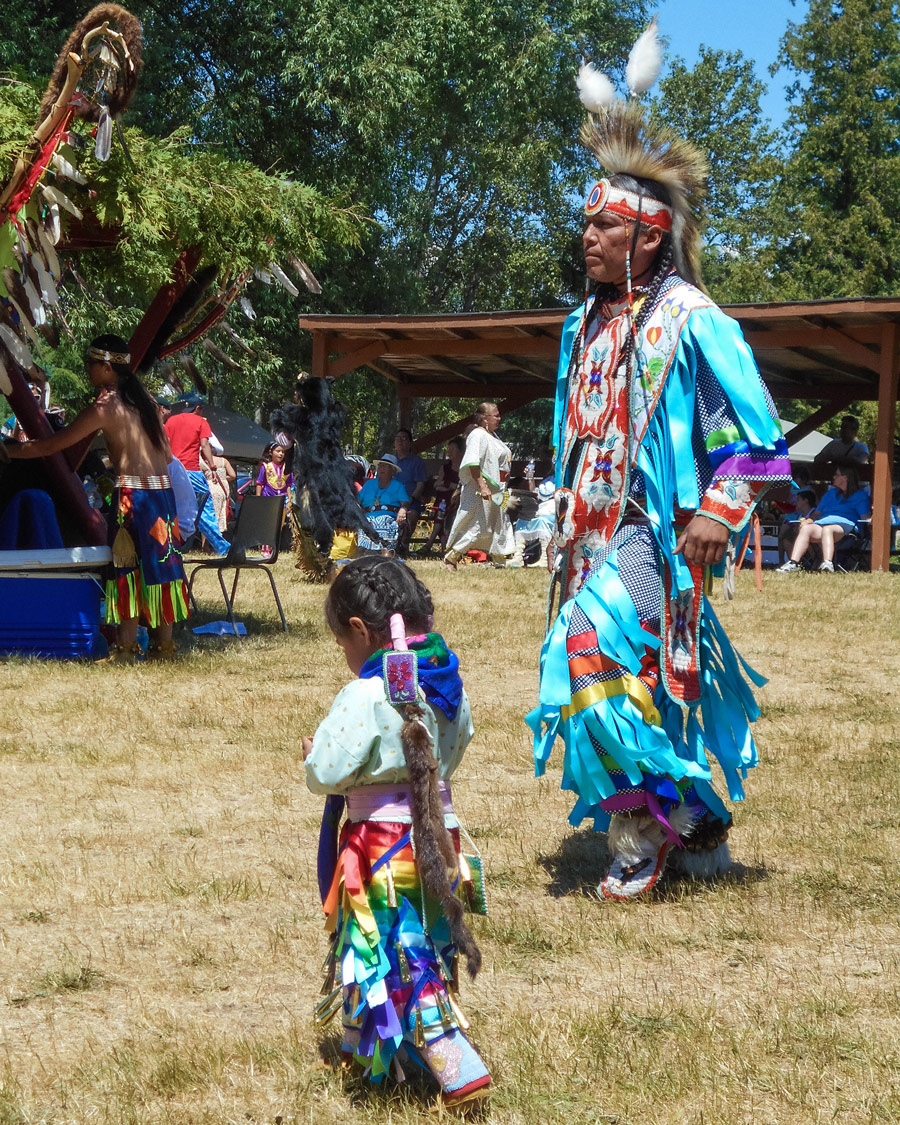 Father and daughter dancers at a Pow Wow on Manitoulin Island
