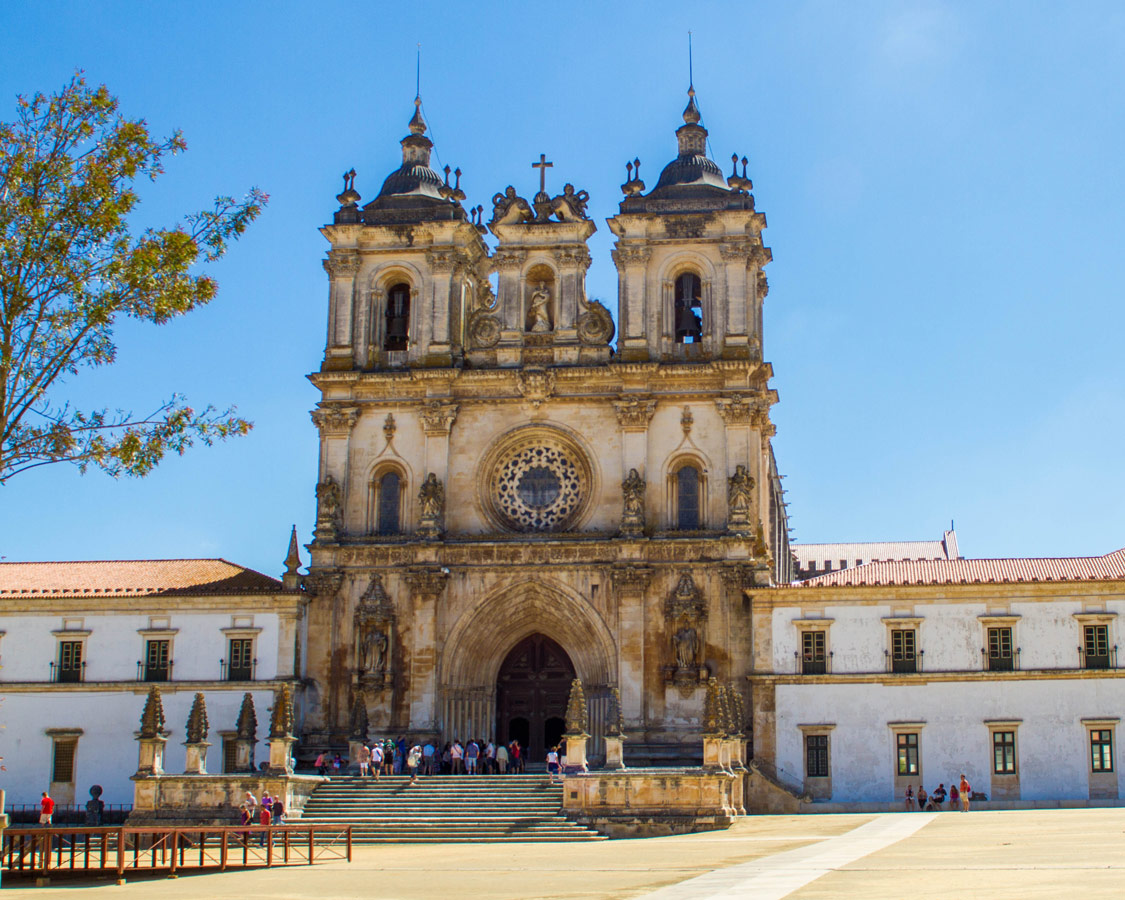Front entrance of the Monastery of Alcobaca in Alcobaca, Portugal.