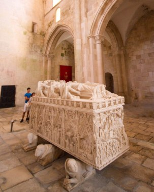 Tomb of Dona Ines in Alcobaca Monastery in Portugal.