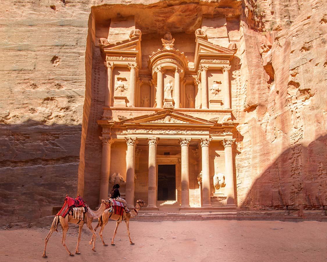 Visiting Petra With Kids Camels at the Treasury
