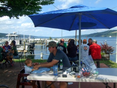 Waterside dining at Watkins Glen Village.