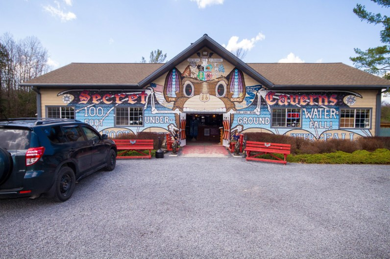 The entrance to Secret Caverns New York is as colorful as the infamous billboards they have lining the route to the entrance.