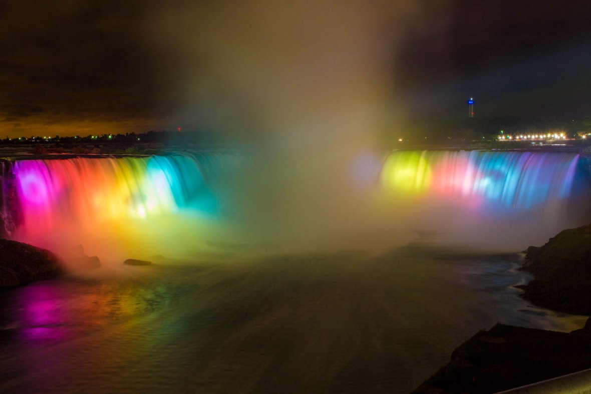 Niagara Falls, one of the most amazing palces in Canada is lit up like a rainbow