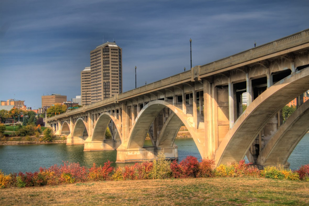 A bridge across the river in Saskatoon Saskatchewan, one of the most amazing places in Canada