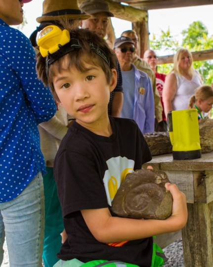 A young boy wearing a caving helmet shows off an intact ammolite fossil found in Bonnechere caves with kids