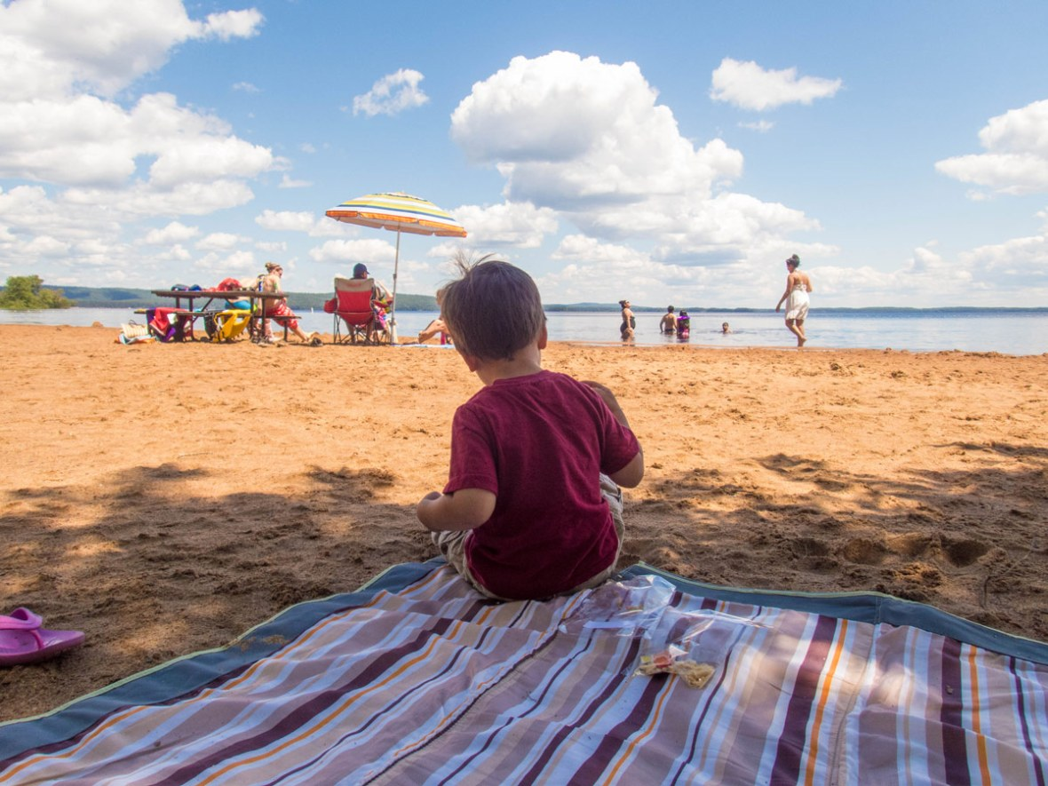 D relaxes at the beach in Bonnechere Provincial Park in Ontario
