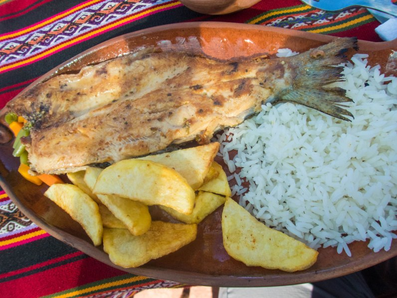 Fish and potatoes from a restaurant on Isla Taquile on Lake Titicaca Peru