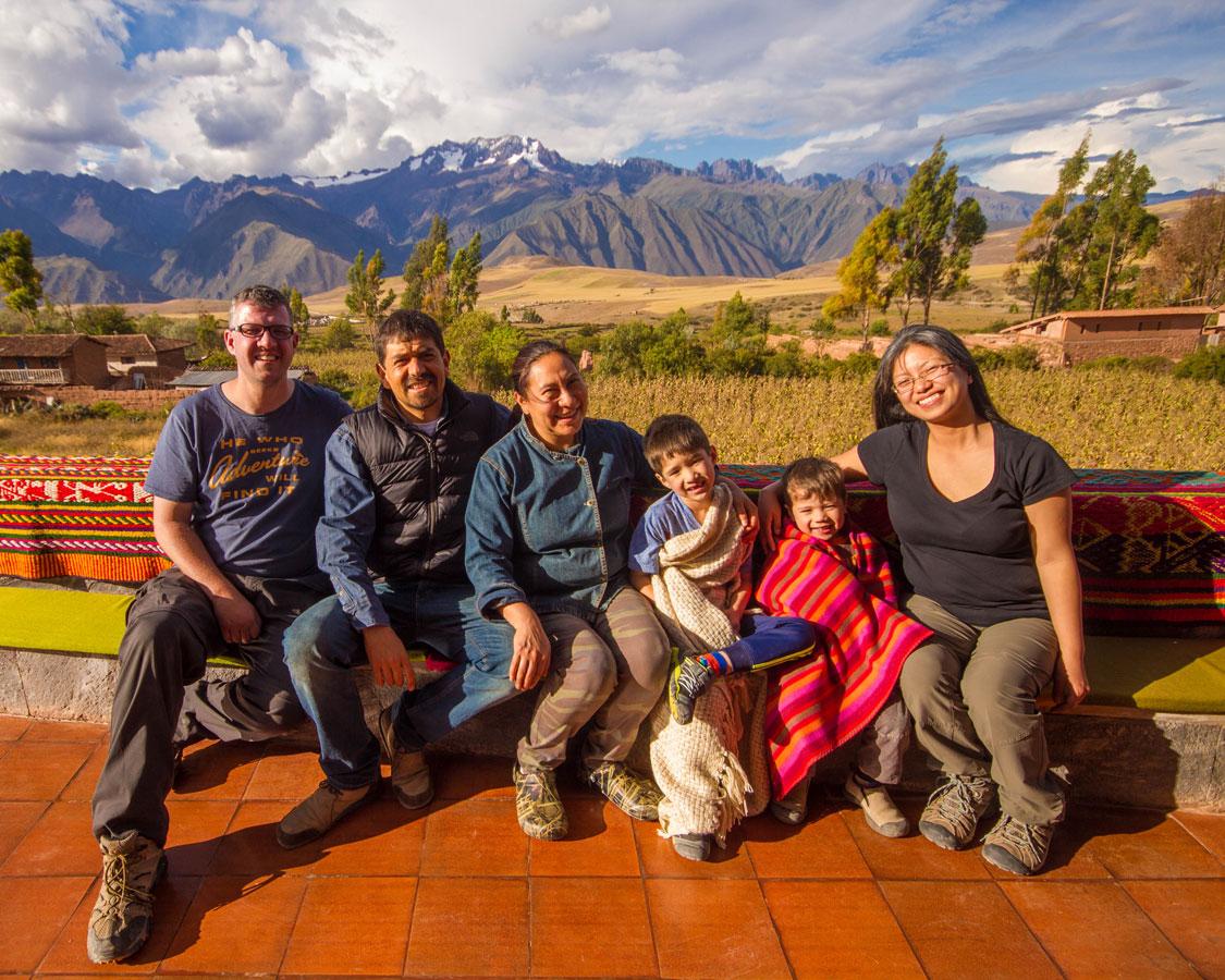 A family pose with Tatiana and Jeremy at Casa Tatiana in the Sacred Valley Peru