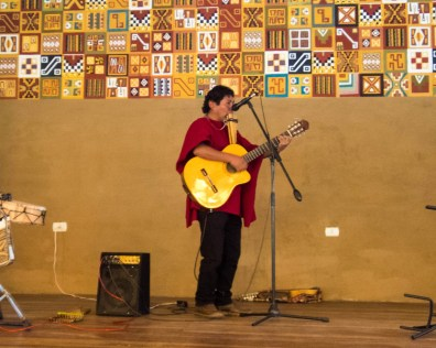 A Peruvian musician in Sicuani Peru during the Cusco to Puno bus tour with Inka Express