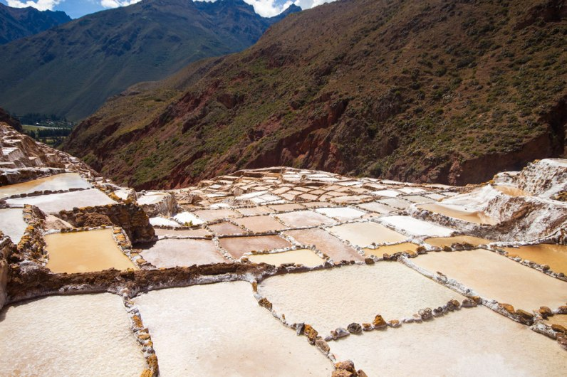A scenic view of the Salt pans of Maras Peru