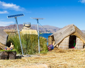 Solar panels provide power for lighting on some of the Uros Islands on Lake Tiiticaca Peru