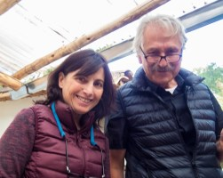 Pablo Seminario and Marilu Behar at the ceramics painting for kids workshop at taller ceramica in Urubamba Peru