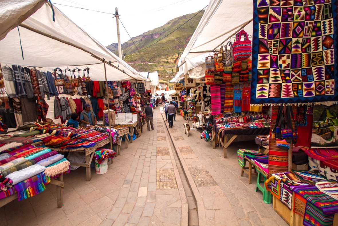The Wandering Wagars boys wander the Pisac Market during a day trip to the Sacred Valley Peru