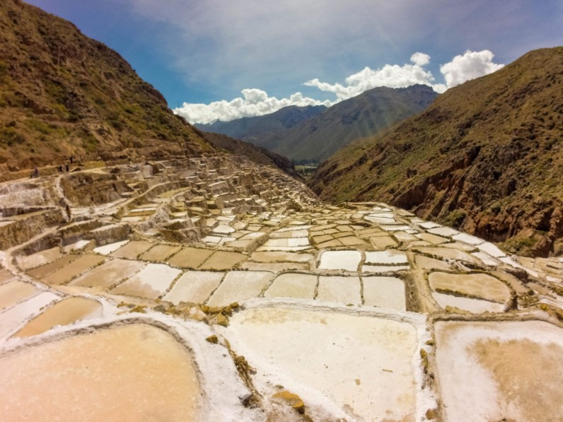 The Salt Pans of Maras are a popular stop during a day trip to the Sacred Valley Peru