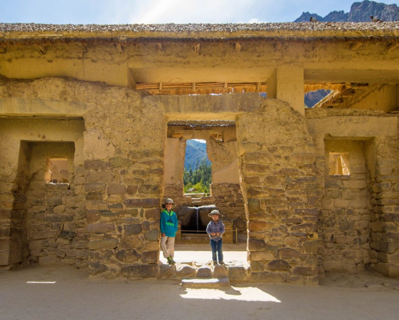 The Wandering Wagar boys hang out in a temple in Ollantaytambo during a day trip to the Sacred Valley Peru
