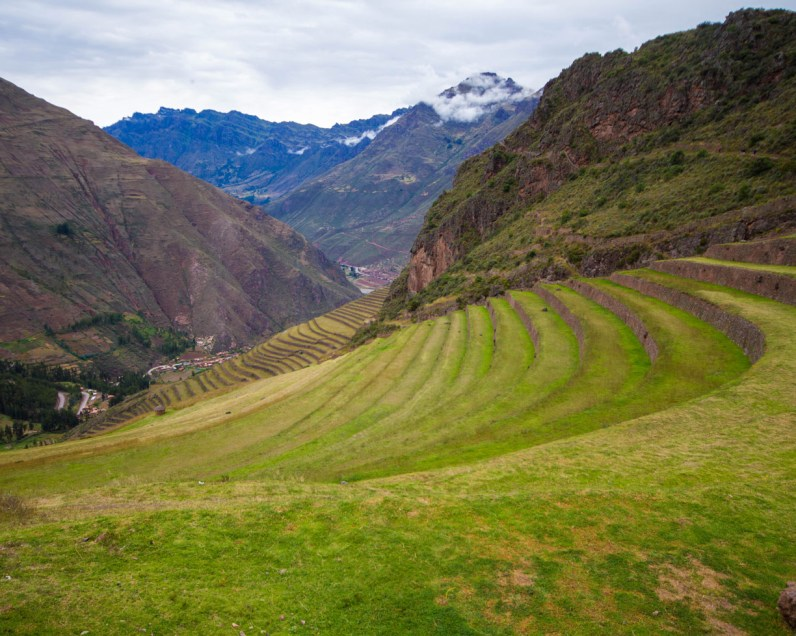 The view from the top of the Pisac ruins during a day trip to the Sacred Valley Peru