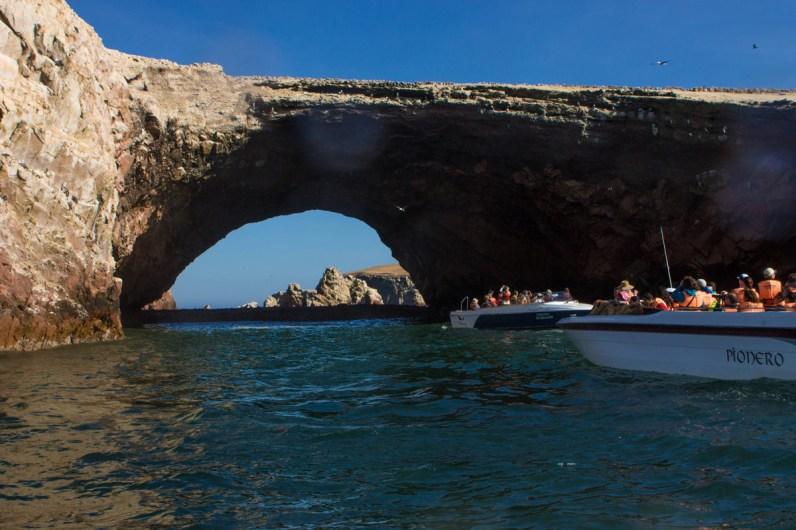 A huge sea arch in Isla Ballestas near Paracas Peru