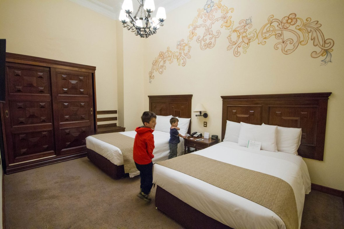 Checking out our room at Costa del Sol hotel in Cusco Peru with kids while we explored 2 weeks in Peru