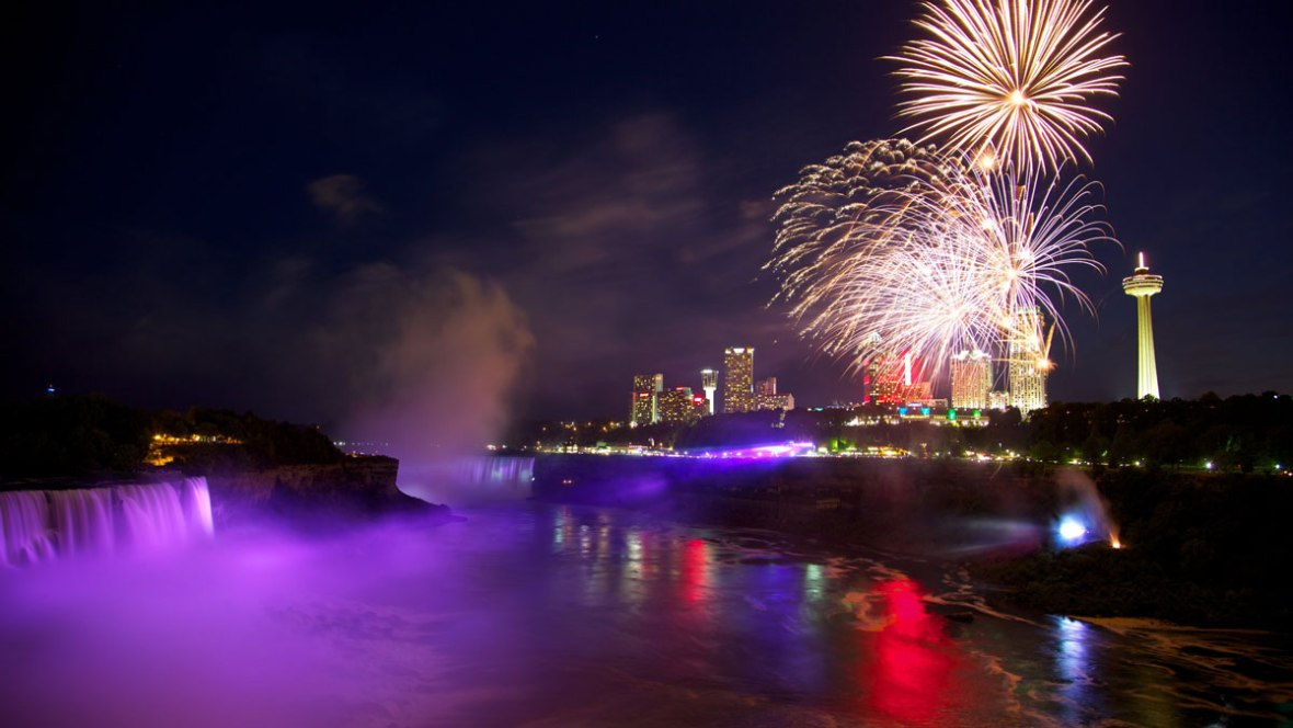 Watching Fireworks over Niagara Falls Ontario is one of the best ways to spend winter in Niagara Falls Canada