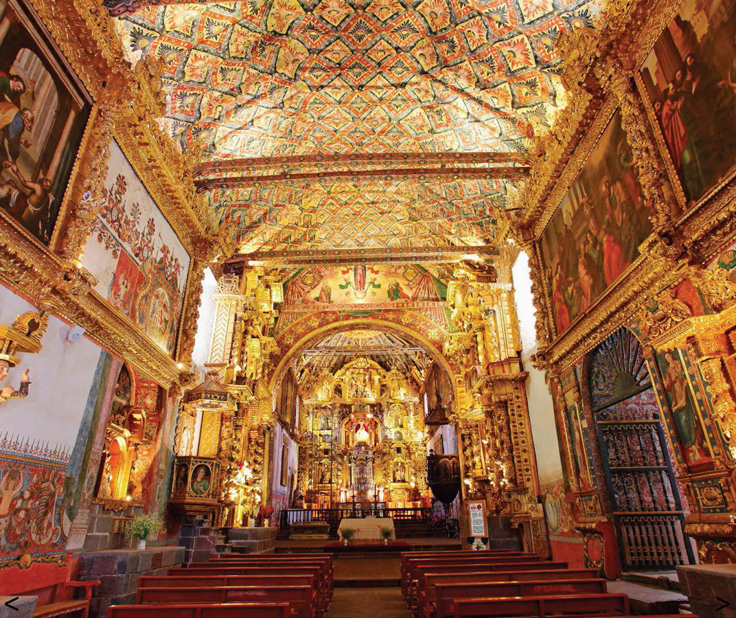 Interior of Iglesia de San Pedro in Andahuaylillas Peru with kids on a 14 day Peru itinerary
