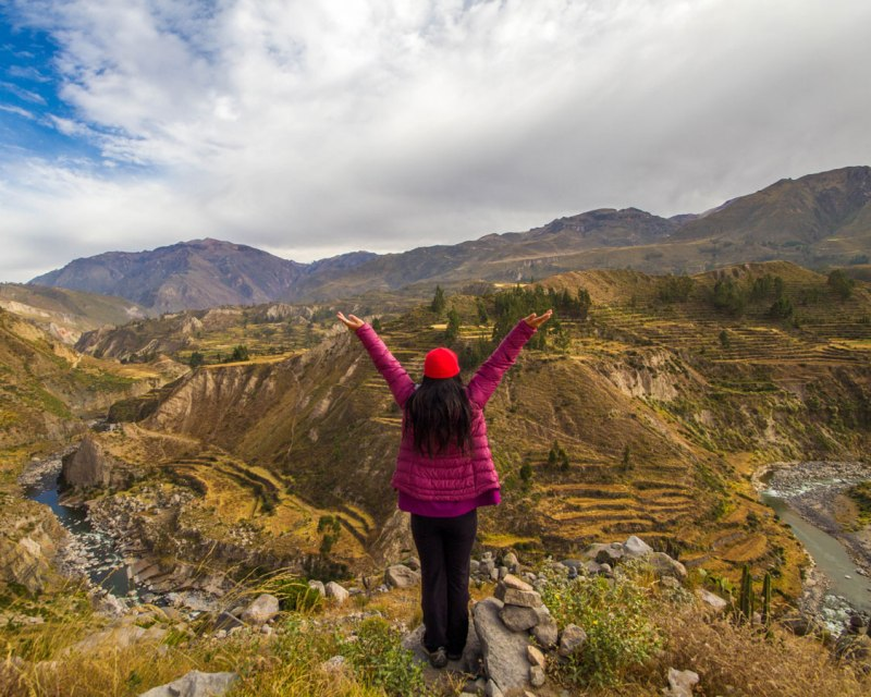 Looking out for the ridge of Colca Canyon Peru with kids on a 14 day Peru itinerary