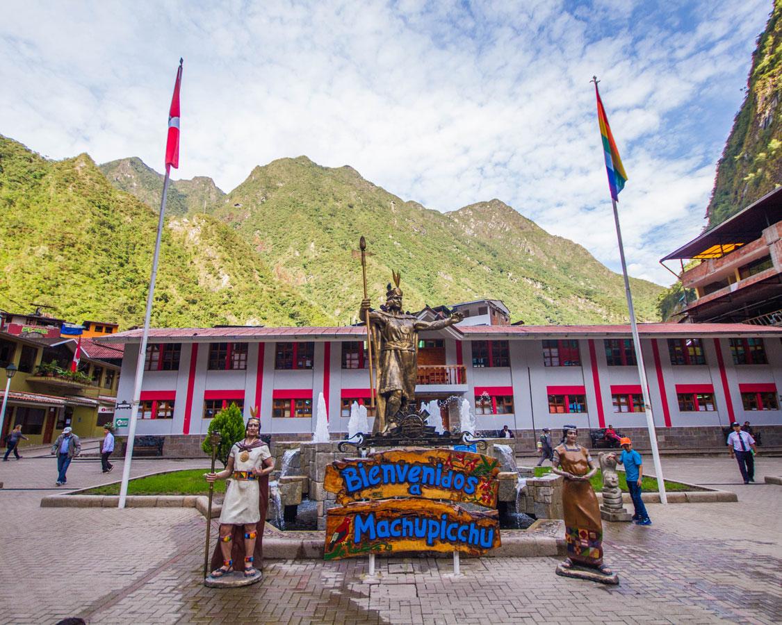 Main Square of Machu Picchu Pueblo in Peru with kids on a 14 day Peru itinerary