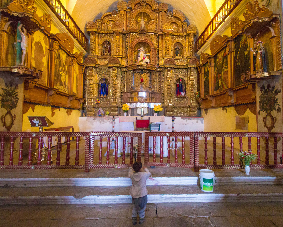 Rebuilt church in a small town in Peru with kids on a 14 day Peru itinerary